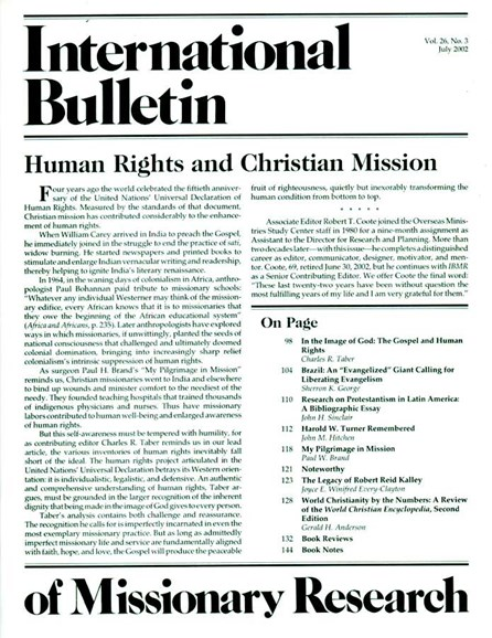 International Bulletin Of Mission Research Cover - 7/1/2002