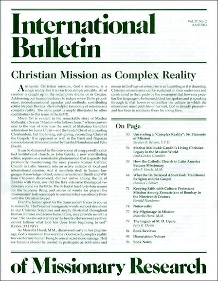 International Bulletin Of Mission Research Cover - 4/1/2003