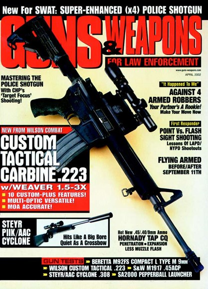 Guns & Weapons For Law Enforcement Cover - 4/1/2002