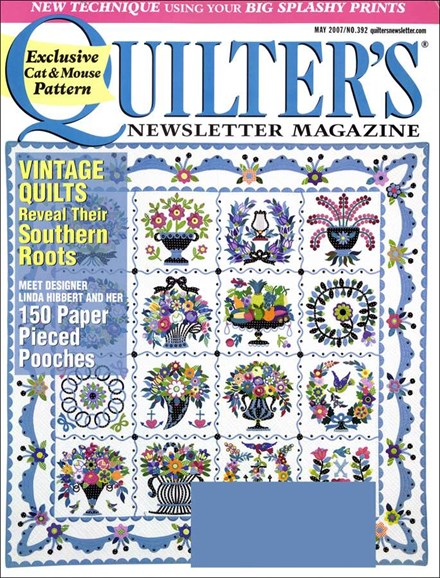 Quilter's Newsletter Cover - 5/1/2007