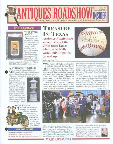 Antiques Roadshow Insider Cover - 9/1/2008