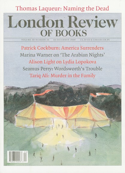 London Review Of Books Cover - 12/1/2008