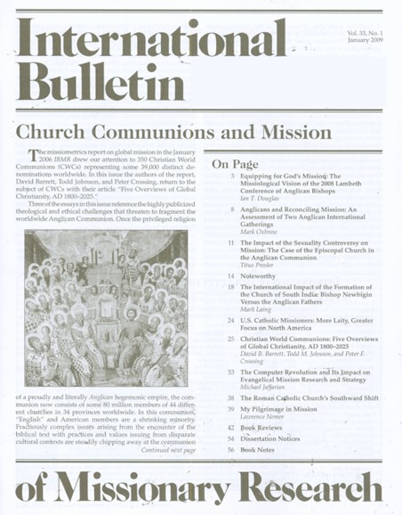 International Bulletin Of Mission Research Cover - 1/1/2009