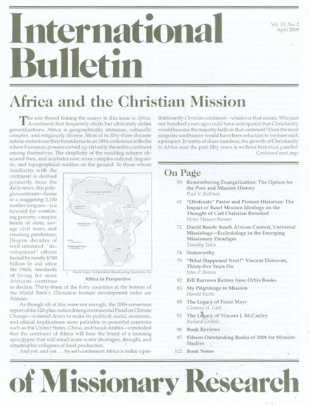 International Bulletin Of Mission Research Cover - 4/1/2009