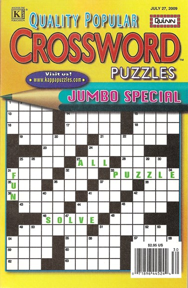 Quality Popular Crossword Puzzles Jumbo Cover - 7/27/2009