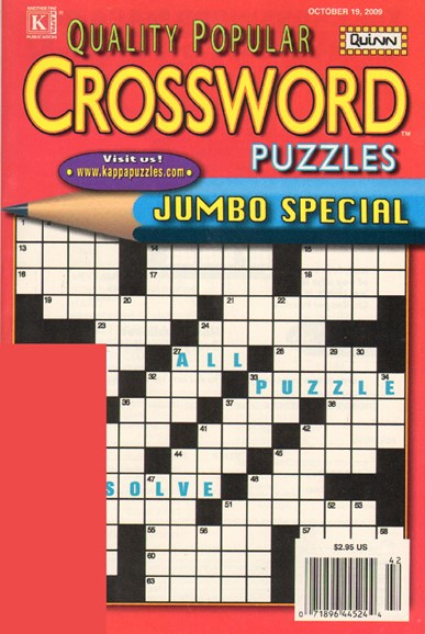 Quality Popular Crossword Puzzles Jumbo Cover - 10/19/2009