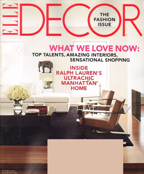ELLE DECOR Cover - 10/1/2010