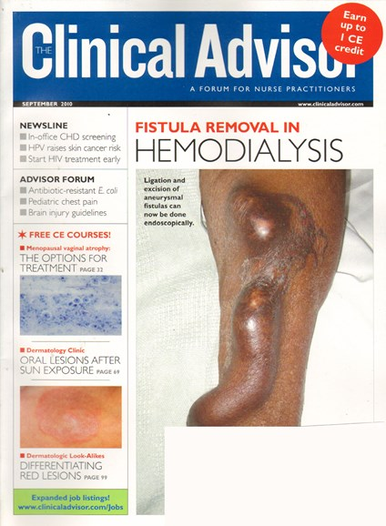 Clinical Advisor Cover - 9/1/2010