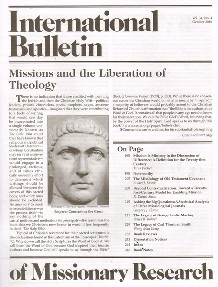 International Bulletin Of Mission Research Cover - 10/1/2010