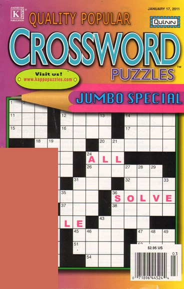 Quality Popular Crossword Puzzles Jumbo Cover - 1/17/2011