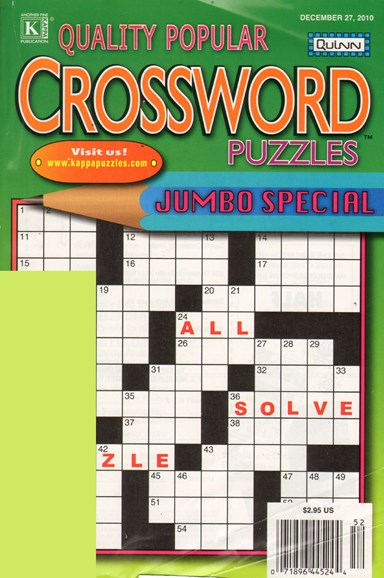 Quality Popular Crossword Puzzles Jumbo Cover - 12/1/2010