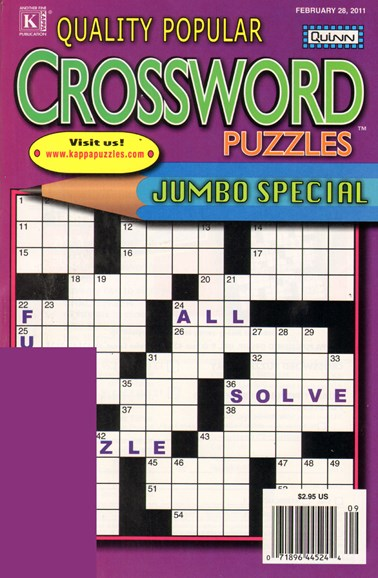 Quality Popular Crossword Puzzles Jumbo Cover - 2/28/2011