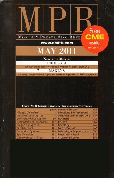 Monthly Prescribing Reference (MPR) Cover - 5/1/2011