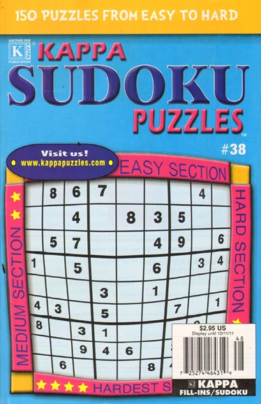 Blue Ribbon Kappa Sudoku Puzzles Cover - 9/1/2011
