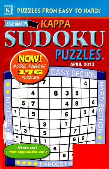 Blue Ribbon Kappa Sudoku Puzzles Cover - 4/1/2013