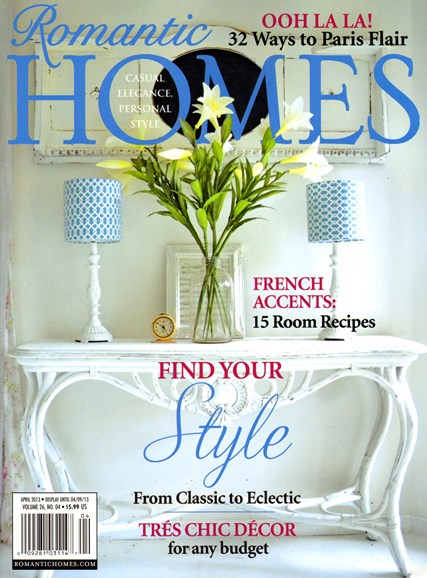 Romantic Homes Cover - 4/1/2013
