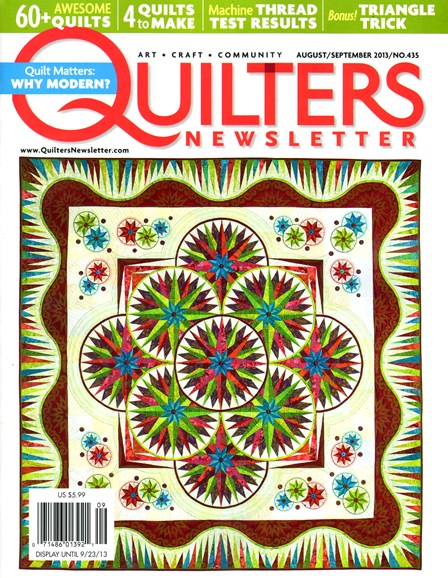 Quilter's Newsletter Cover - 8/1/2013