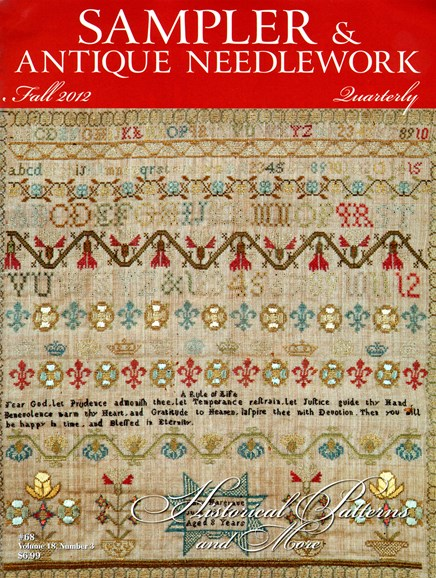 Sampler & Antique Needlework Qtry Magazine Cover - 9/1/2012