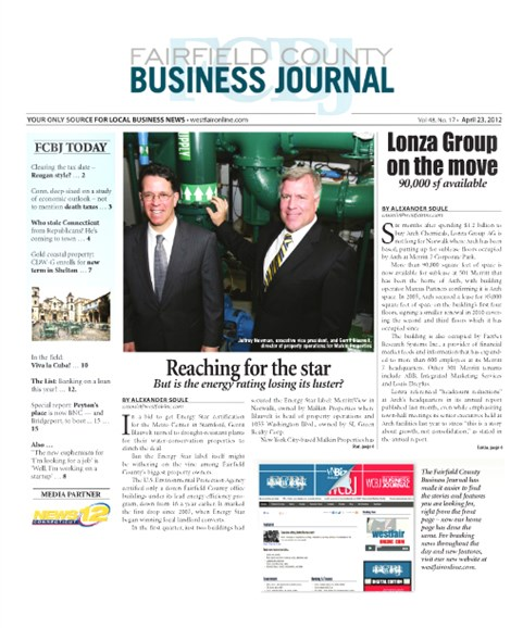 Fairfield County Business Journal Cover - 4/23/2012