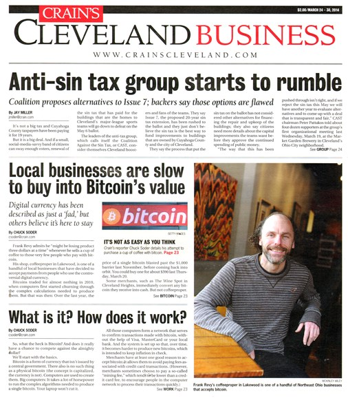 Crain's Cleveland Business Cover - 3/24/2014
