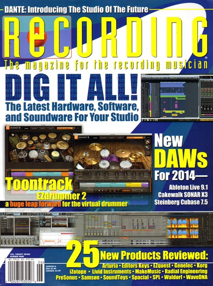 Recording Magazine Cover - 6/1/2014