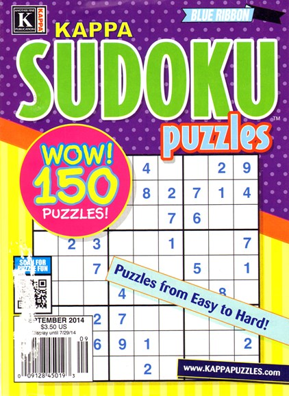 Blue Ribbon Kappa Sudoku Puzzles Cover - 9/1/2014