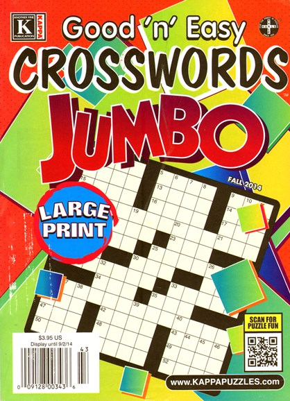 Good N Easy Crosswords Jumbo Cover - 9/1/2014