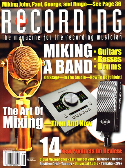 Recording Magazine Cover - 8/1/2014
