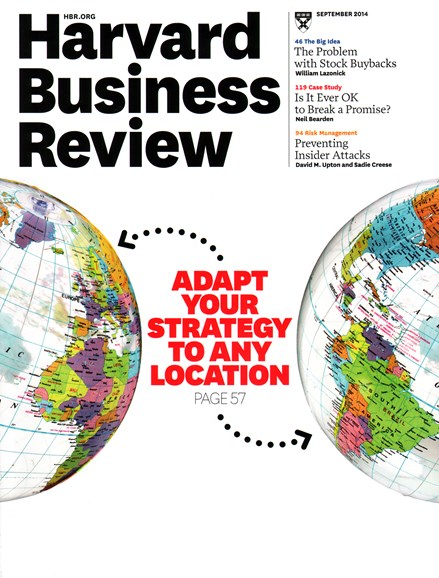 Harvard Business Review Cover - 9/1/2014