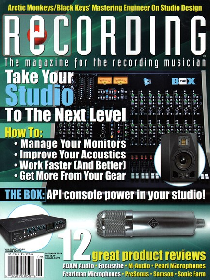 Recording Magazine Cover - 9/1/2014