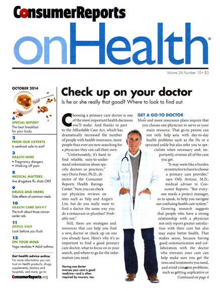 Consumer Reports On Health Cover - 10/1/2014