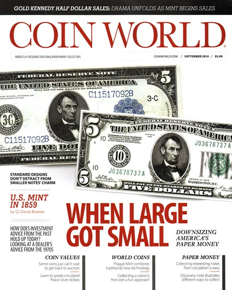 Coin World Monthly Cover - 9/1/2014