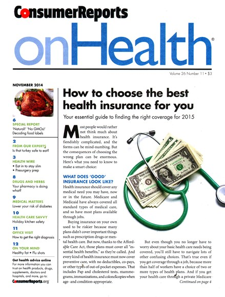 Consumer Reports On Health Cover - 11/1/2014