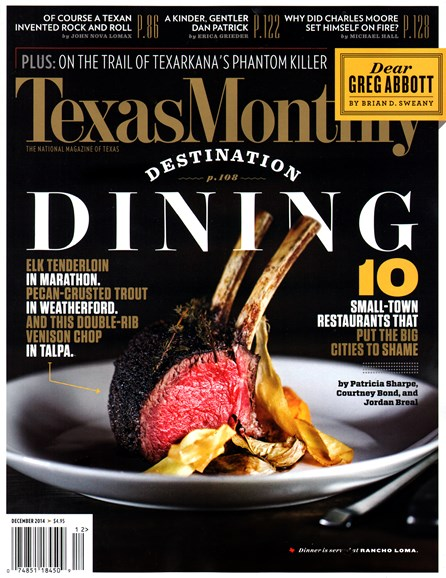Texas Monthly Cover - 12/1/2014