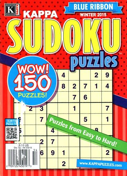 Blue Ribbon Kappa Sudoku Puzzles Cover - 1/1/2015