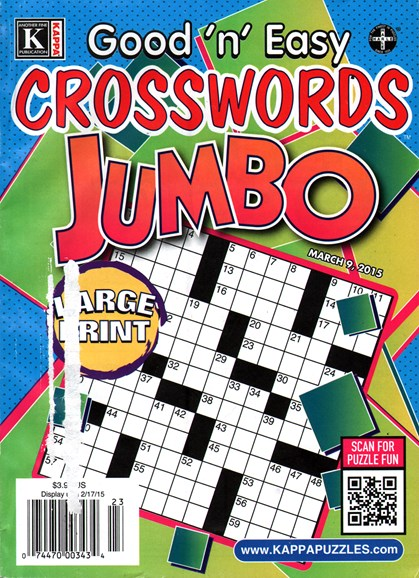 Good N Easy Crosswords Jumbo Cover - 3/9/2015
