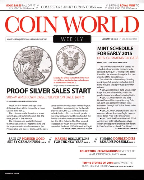 Coin World Weekly Cover - 1/19/2015