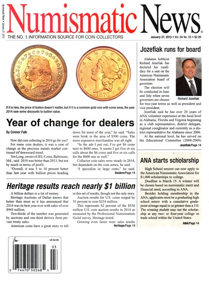 Numismatic News Cover - 1/27/2015