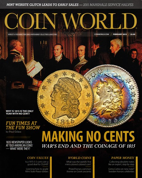 Coin World Monthly Cover - 2/1/2015