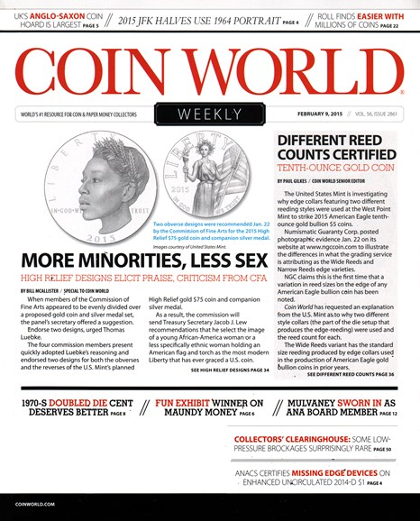 Coin World Weekly Cover - 2/9/2015