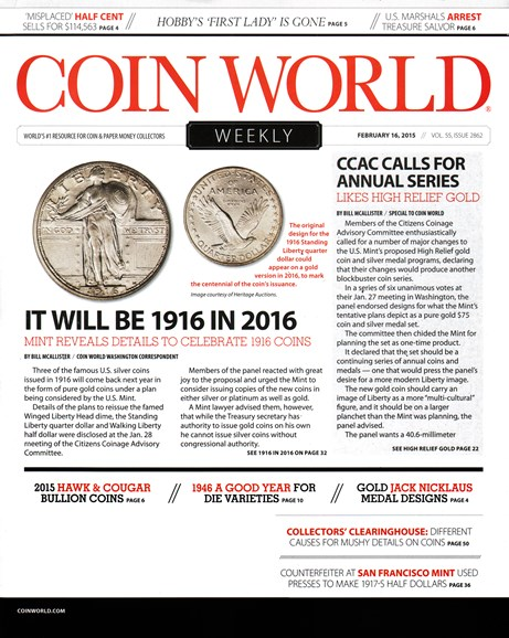 Coin World Weekly Cover - 2/16/2015