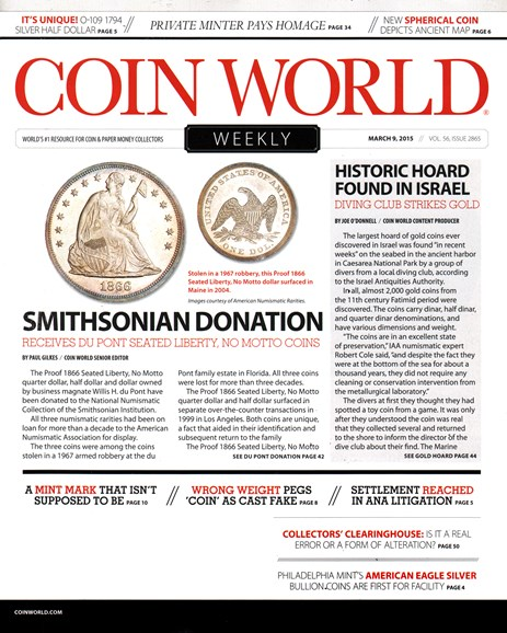 Coin World Weekly Cover - 3/9/2015