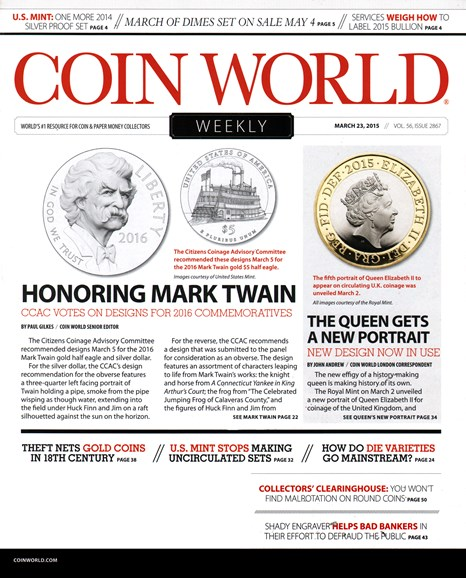 Coin World Weekly Cover - 3/23/2015