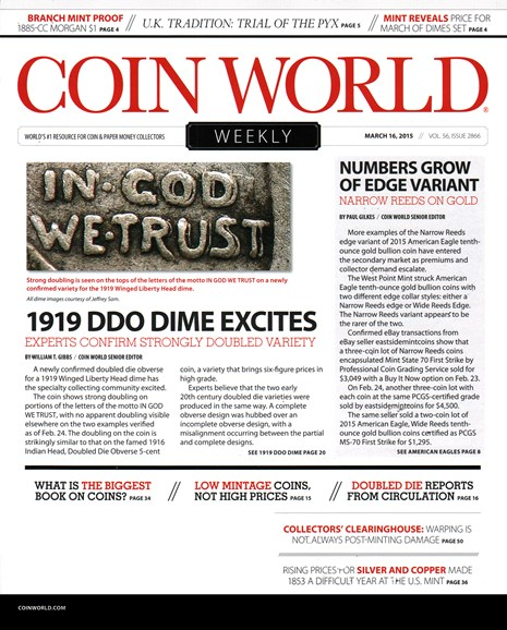 Coin World Weekly Cover - 3/16/2015