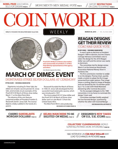 Coin World Weekly Cover - 3/30/2015