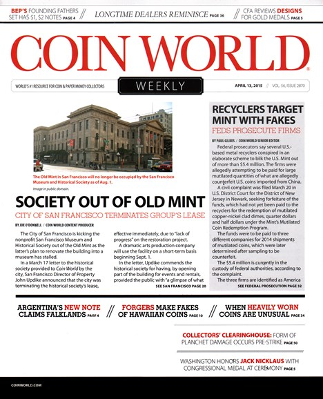 Coin World Weekly Cover - 4/13/2015