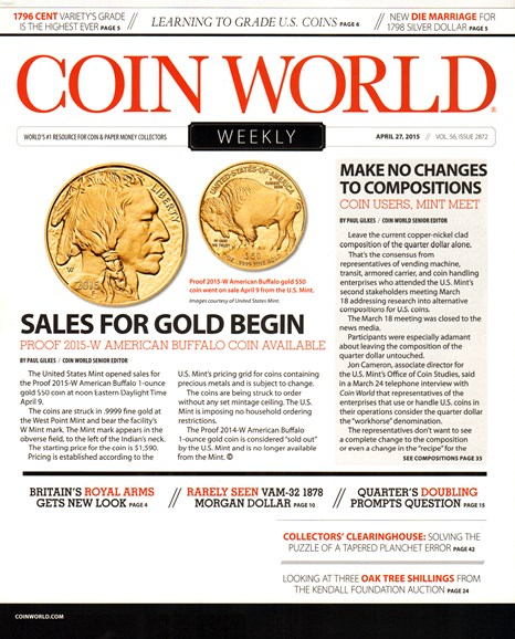 Coin World Weekly Cover - 4/27/2015
