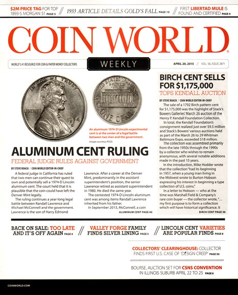 Coin World Weekly Cover - 4/20/2015