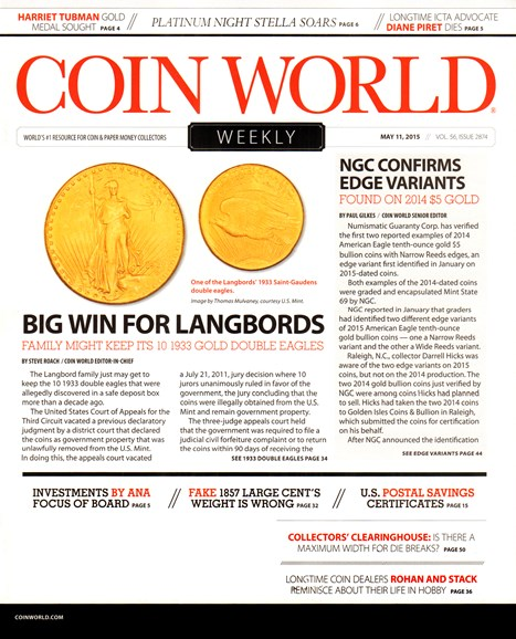 Coin World Weekly Cover - 5/11/2015