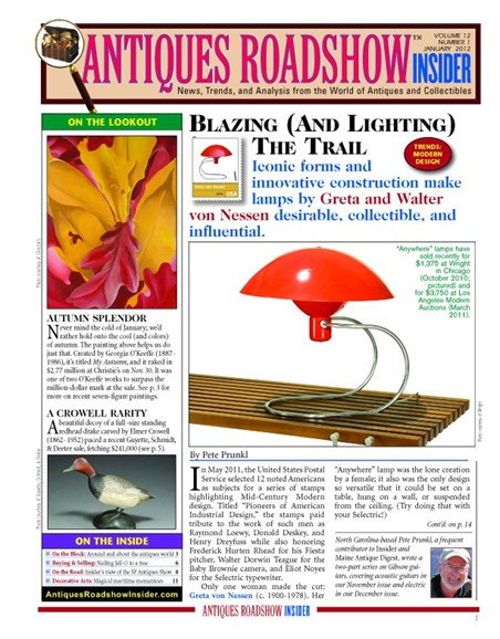 Antiques Roadshow Insider Cover - 1/1/2012